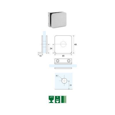 GC-6 Morsetto angolare a 90° vetro/muro per montaggio a filo con piastra ridotta