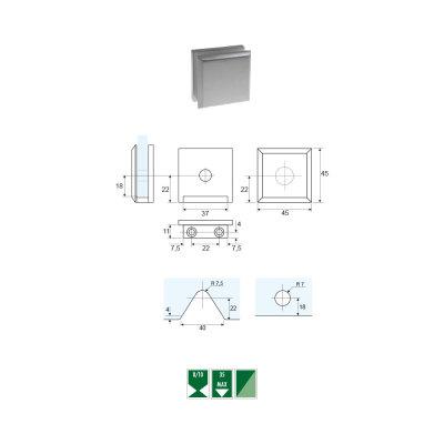 GCZ-1 Morsetto vetro/muro per montaggio a filo serie GCZ