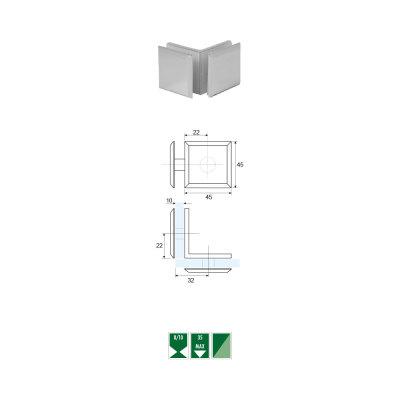 GCZ-3 Morsetto angolare a 90° vetro/vetro serie GCZ