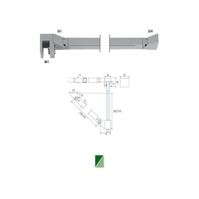 QB-6 Barra di sicurezza angolare snodata vetro/muro