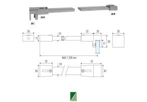 QB-7 Barra di sicurezza 90° vetro/muro