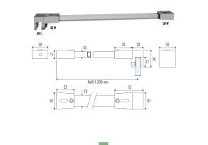 QBM-7 90° glass to wall shower rod