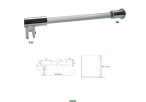 SBM-7 90° glass to wall shower rod