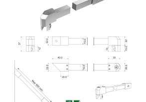 SQB-6 Barra di sicurezza 45° vetro/muro